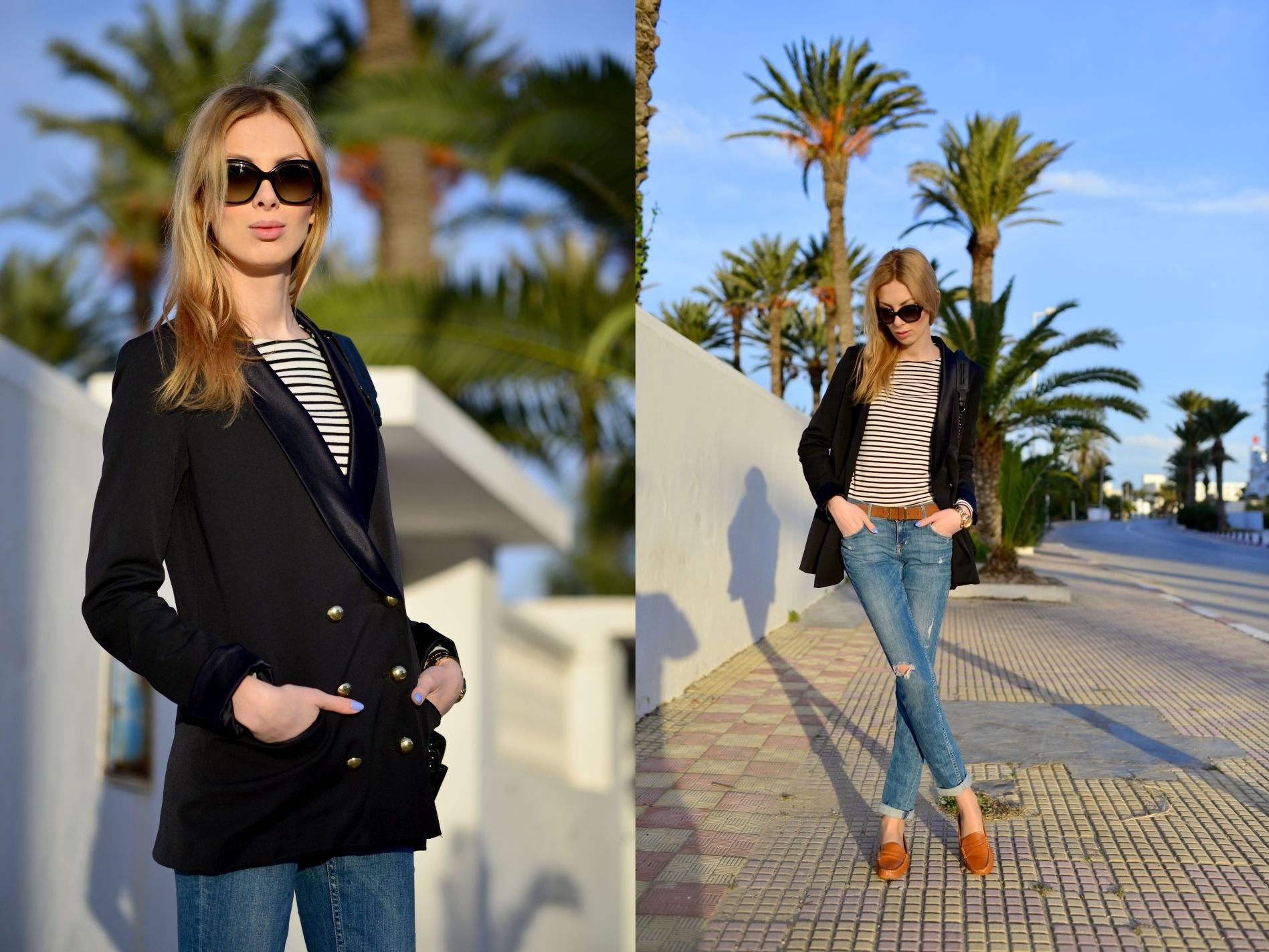 charlize mystery tunezja, okulary vogue eyewear, bluzka w paski