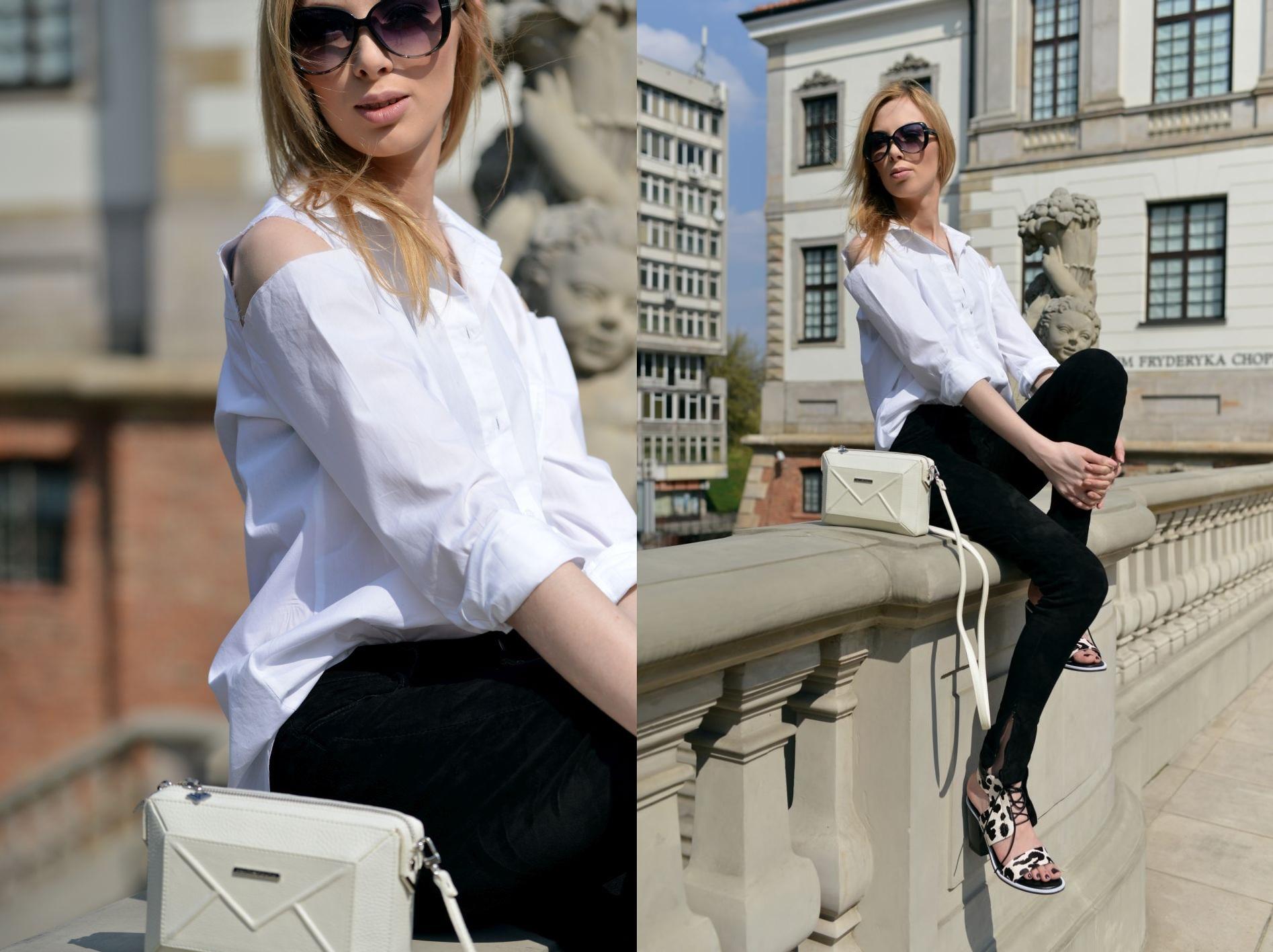 klasyczna biała koszula stylizacje