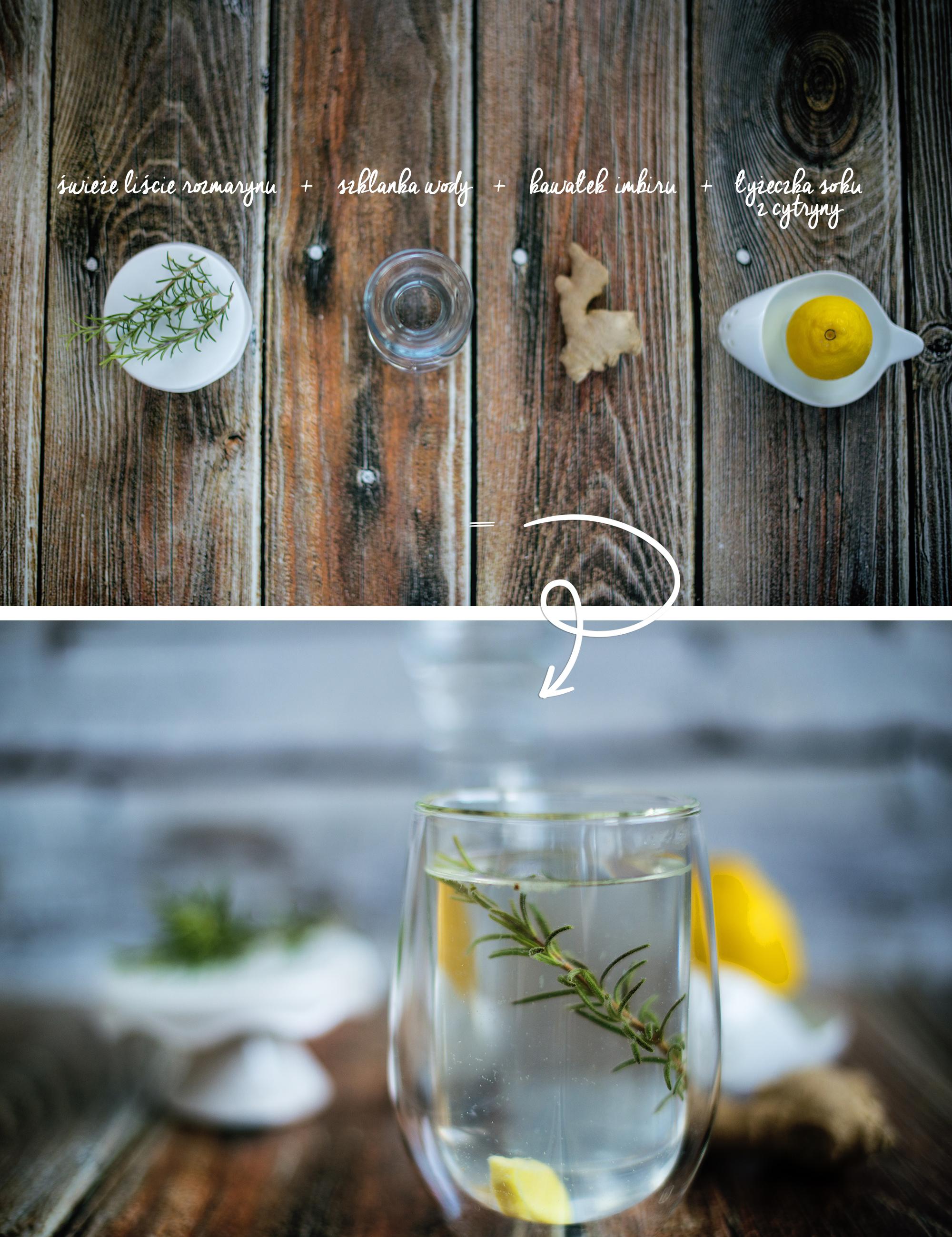 świeże liście rozmarynu, szklanka wody, kawałek imbiru, łyzeczka soku z cytryny 2