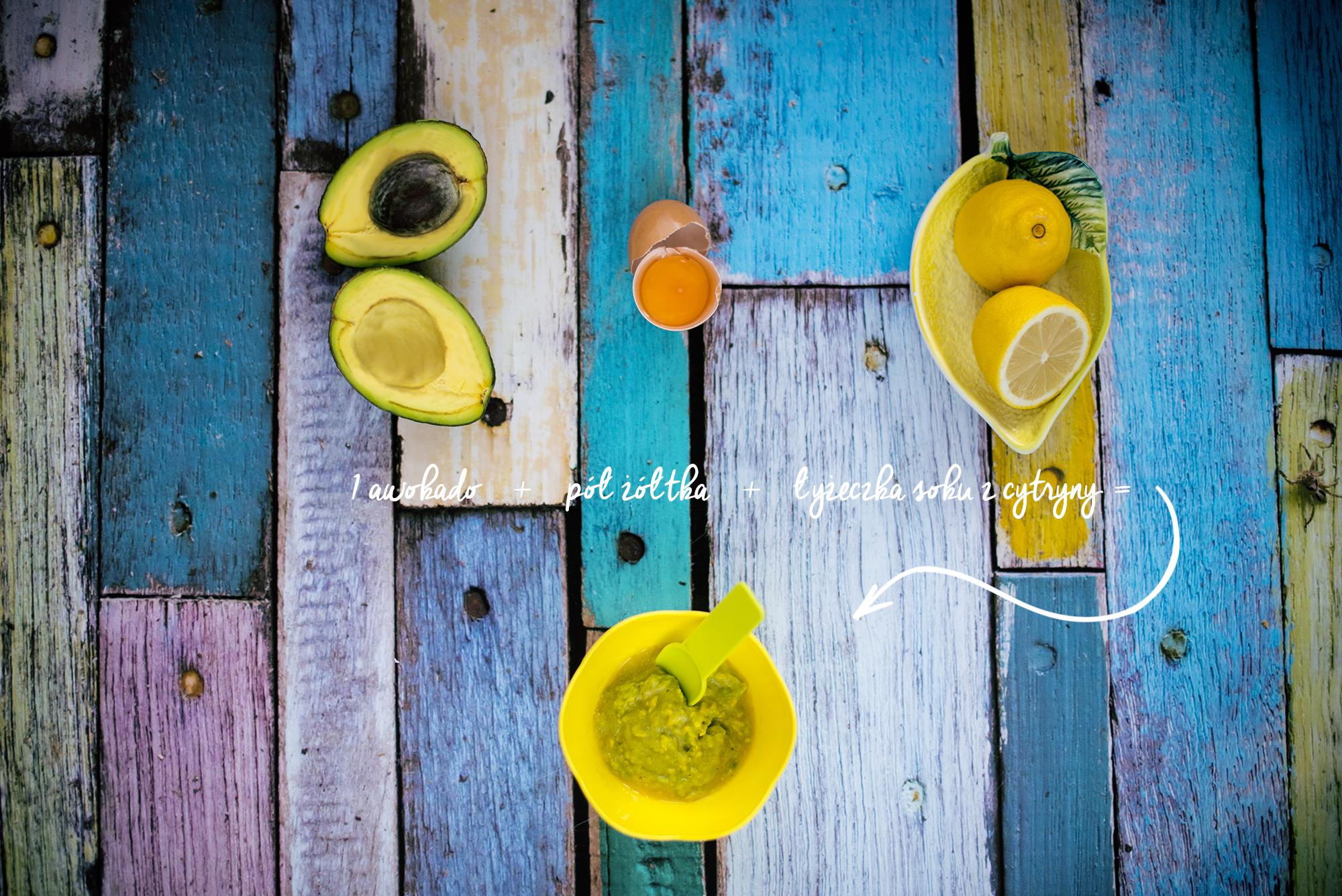 1 awokado, pol zoltka, lyzeczka soku z cytryny 2s